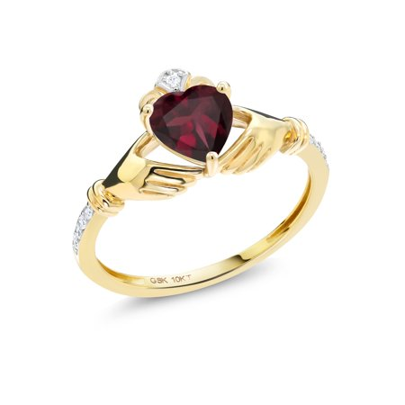 0.78 Ct Heart Shape Red Rhodolite Garnet Diamond Accent 10K Yellow Gold Ring