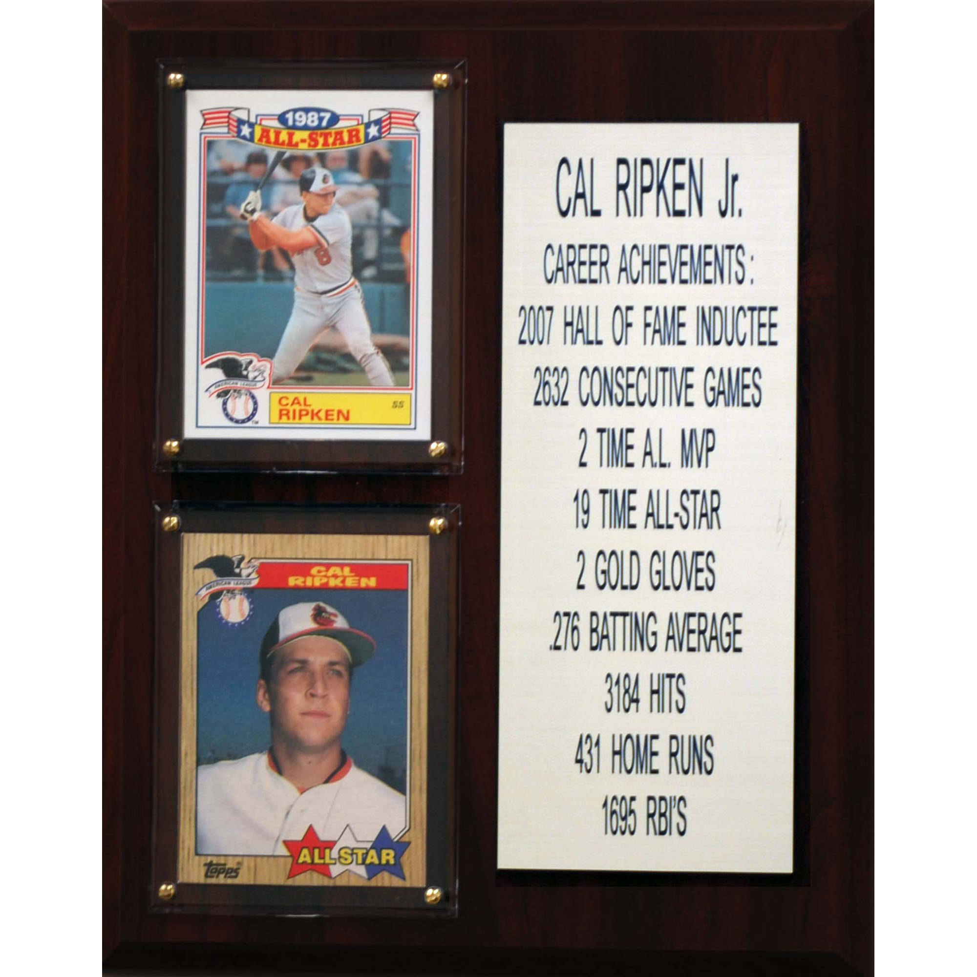 C&I Collectables MLB 8x10 Cal Ripken Jr. Baltimore Orioles Career Stat Plaque