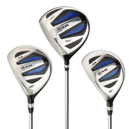 Ram Golf EZ3 Mens Steel Wood Set Lefty - Driver, 3 & 5 Wood -Headcovers Included
