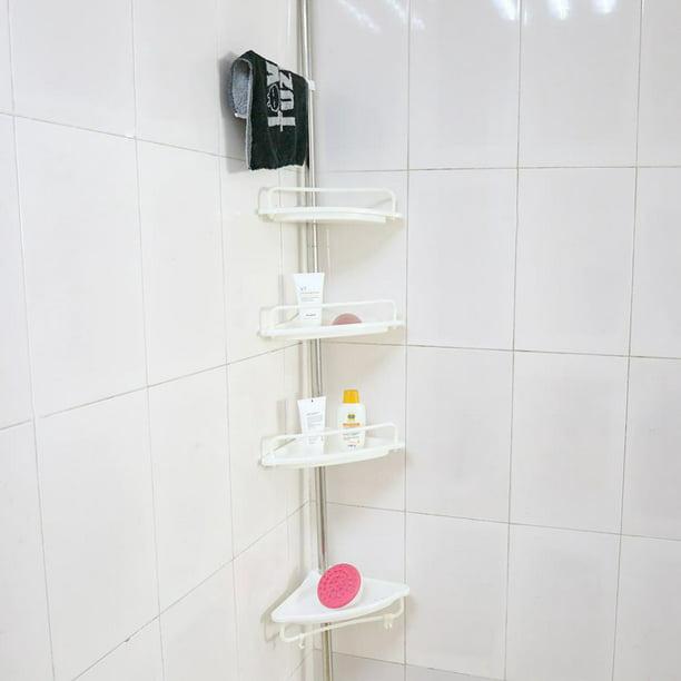 Walfront 4 Tier Bathroom Corner Shelf Height Of 63 118 Adjustable Telescopic Shower Shelf Shower Corner Rack Stainless Steel Clad Pipe Adjustable Telescopic 4 Tier Bathroom Corner Shelf Walmart Com Walmart Com