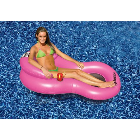 Pink Chill Chair Inflatable Swimming Pool Floating Lounge Drink Holder Walmart