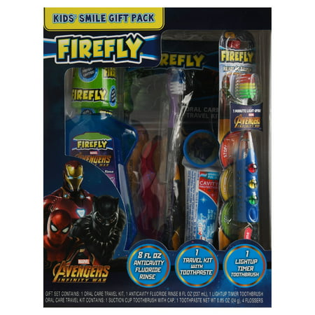 Firefly Avengers Infinity War Kids Toothbrushes, Toothpaste and Mouthwash Oral Care Holiday Gift Set