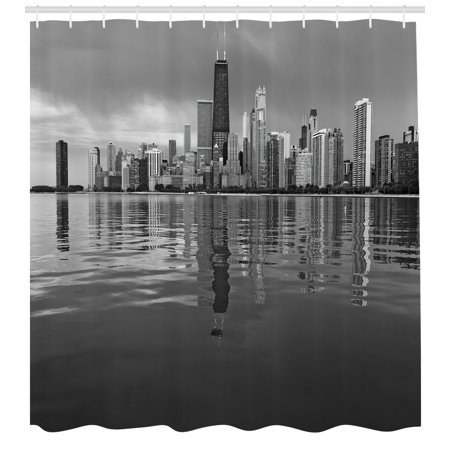 Chicago Skyline Shower Curtain, Nostalgic Weathered Lake Michigan ...