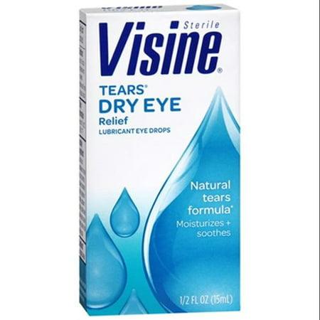 Visine Tears Dry Eye Relief Eye Drops Natural Tears Formula 0.50 oz (Pack of 3)