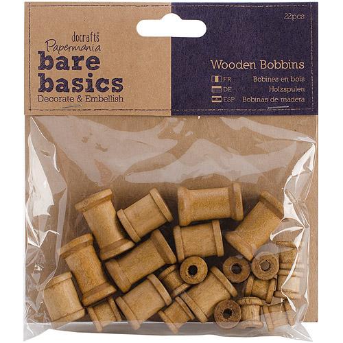 Papermania Bare Basics Wooden Shapes, 22pk, Bobbins