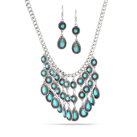 Turquoise Nugget Set - WOMEN'S ANTIQUE-LOOK TEAR DROP TURQUOISE EARRING AND STATEMENT NECKLACE SET