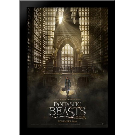 Fantastic Beasts and Where to Find Them 28x40 Large Black Wood Framed Print Movie Poster Art ()