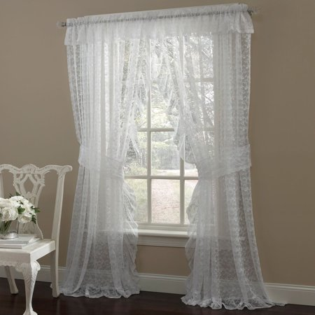 Priscilla Ruffled Bridal Lace Curtain Panel Pair With