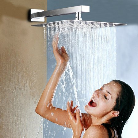 - HURRISE Stainless Steel Rainfall Shower Head Waterfall Rain Chrome Square UltraSlim