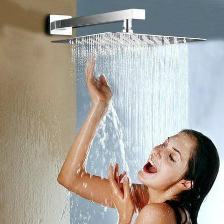 HURRISE 12'' Stainless Steel Rainfall Shower Head Waterfall Rain Chrome Square UltraSlim, Waterfall Rain Chrome Square - image 1 de 6