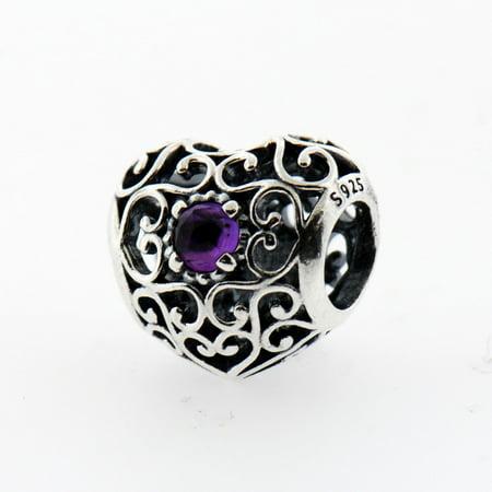 e2387b495 PANDORA - Authentic February Signature Heart Birthstone Charm 925 Sterling  Silver, 791784SAM - Walmart.com