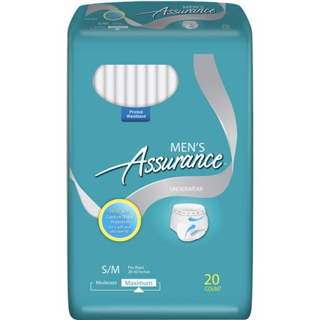 Assurance For Men Maximum Absorbency Protective Underwear  Small Medium  20 Count