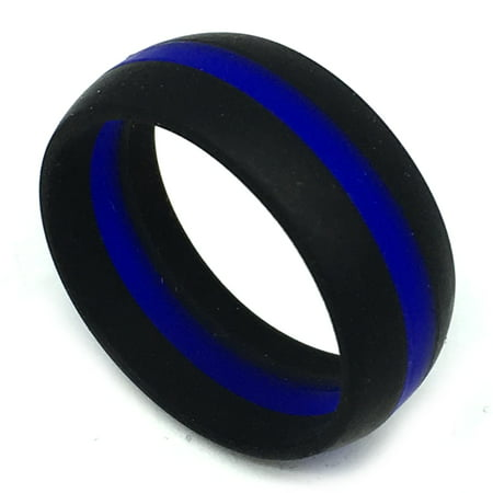 8MM Men or Ladies Athlete Sports Flexible Black with Double Groove Silicon Rubber Wedding Band Ring Flat Grooved Wedding Ring