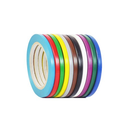 WOD CVT-536 Rainbow Pack Vinyl Pinstriping Dance Floor Tape - 1/4 inch wide x 36 yds.12-Rolls - Safety Marking Floor Factories, Warehouses, Gym, Courts, Public Areas (Available in Multiple Colors)