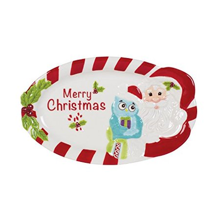 Fitz and Floyd Holiday Hoot Collection Merry Christmas Serving Tray, White (Fitz And Floyd Serving Tray)