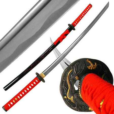 Whetstone Katana With Red Dragon Tsuba and Scabbard, 40
