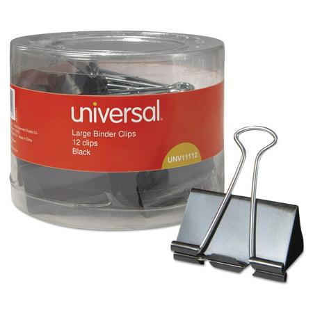 - Binder Clips in Dispenser Tub, Large, Black/Silver, 12/Pack