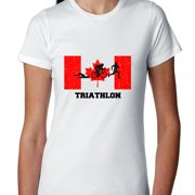 Canada Olympic - Triathlon - Flag - Silhouette Women's Cotton T-Shirt