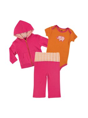 Yoga Sprout Baby Girl Hoodie, Bodysuit & Pants, 3pc Outfit Set