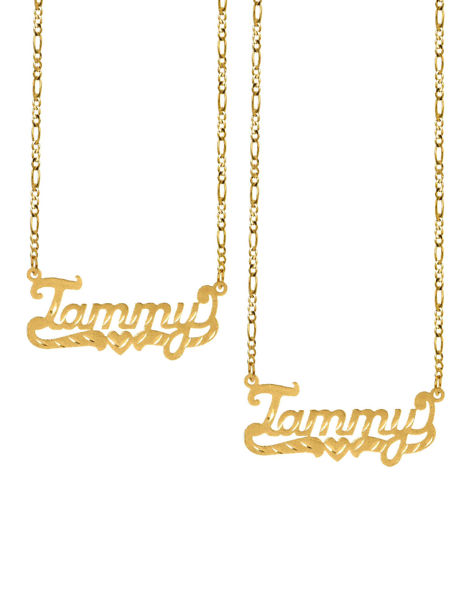 "Mother's Day Special Bundle BOGO. Buy One Get One at 50% Off of the Personalized ""Tammy"" Diamond Cut Name Necklace with an 18 inch Figaro chain in Sterling Silver or 14K Gold Plated Sterling Silver"