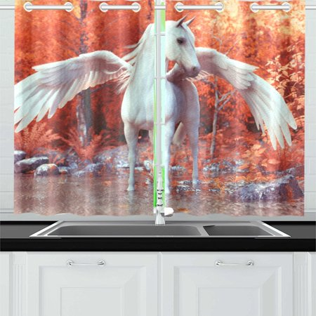 YUSDECOR Mythical Pegasus Window Curtains Kitchen Curtain Room Bedroom Drapes Curtains 26x39 inch, 2 Piece - image 2 de 3