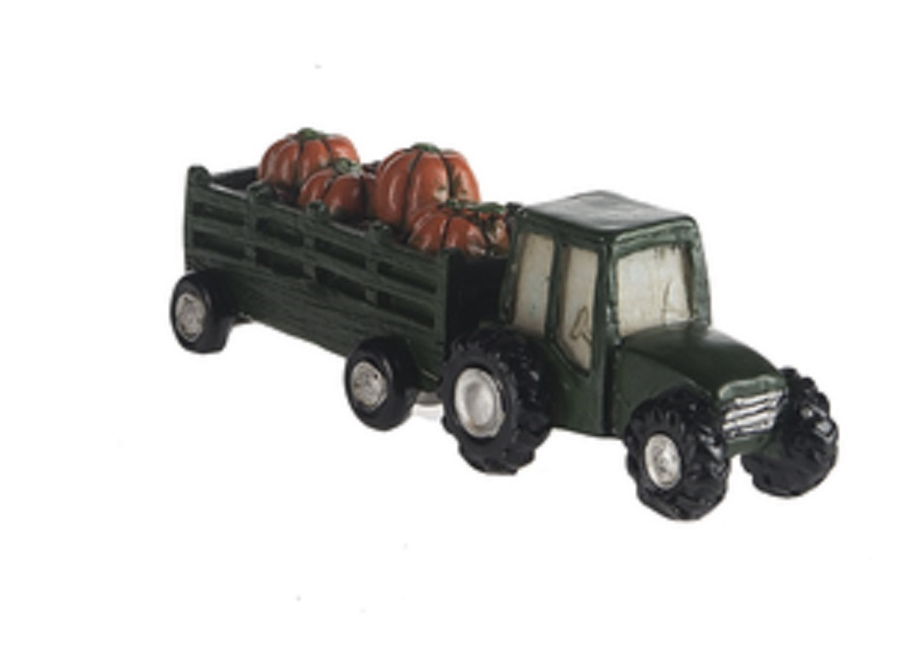 Black Tractor With Pumpkin Filled Trailer Figure By Ganz by