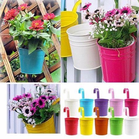 Flower Pots, 10 Pcs Metal Iron Hanging Flower Pots Balcony Garden Plant Planter, Wall Hanging Metal Bucket Flower Holders Home (Wrought Iron Wall Mounted Flower Pot Holder)