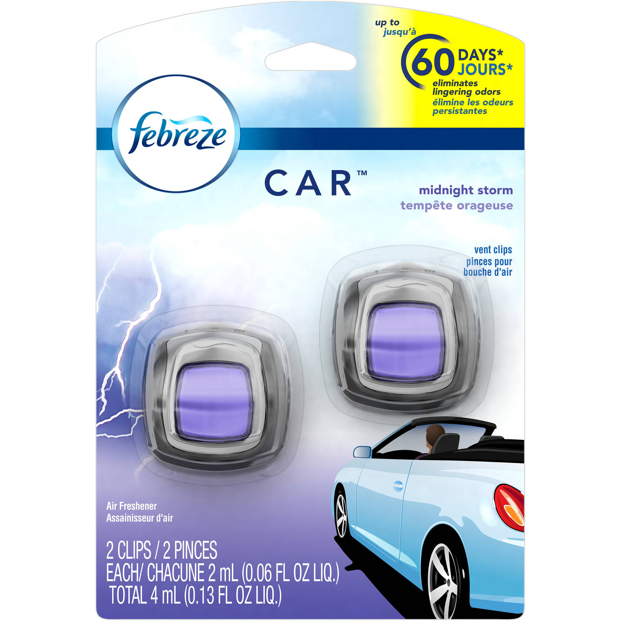 Febreze Car Vents Clips Midnight Storm Air Freshener (2 count; 2 mL each)