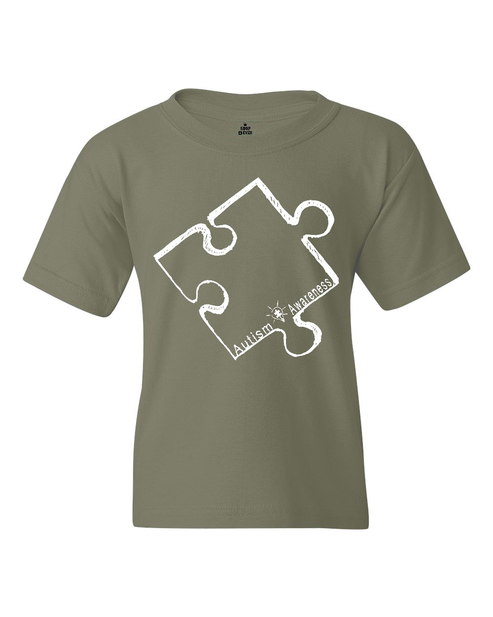 Shop4Ever Youth White Puzzle Piece Autism Awareness Graphic Youth T-Shirt