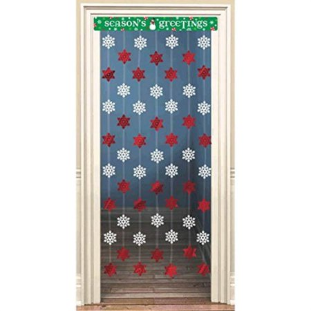 "Amscan Holiday Cheers Christmas Party Stars & Snowflakes Doorway Decoration, Red/White/Green, Foil, 48"" X 34"", 1Piece Party Decorations"