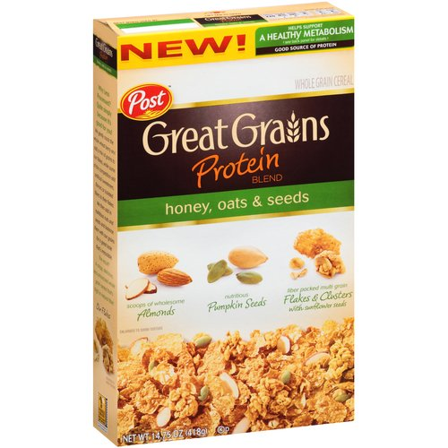 Post Great Grains Protein Blend Honey, Oats & Seeds Cereal, 14.75 oz