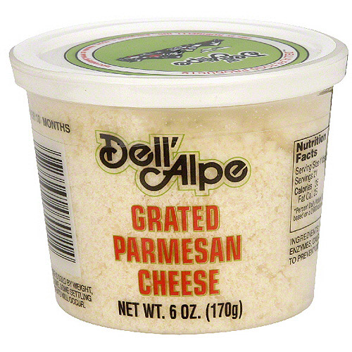Dell' Alpe Grated Parmesan Cheese, 6 oz (Pack of 12)