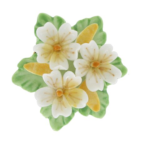 - Ceramic China Yellow White Flower Floral Bouquet Pin Brooch