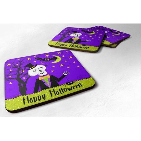 Set of 4 Happy Halloween Skeleton Foam Coasters Set of 4 VHA3014FC - Halloween Serveware Sale