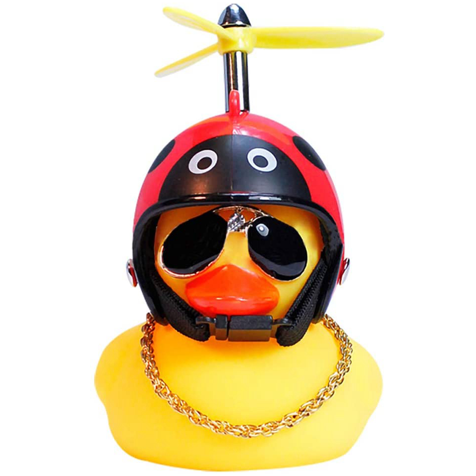 Rubber Duck Toy Ornaments Yellow Duck bicycle car  Decoration with Propeller