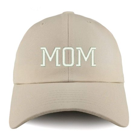 - Trendy Apparel Shop Mom Embroidered Low Profile Soft Cotton Dad Hat Cap - Beige