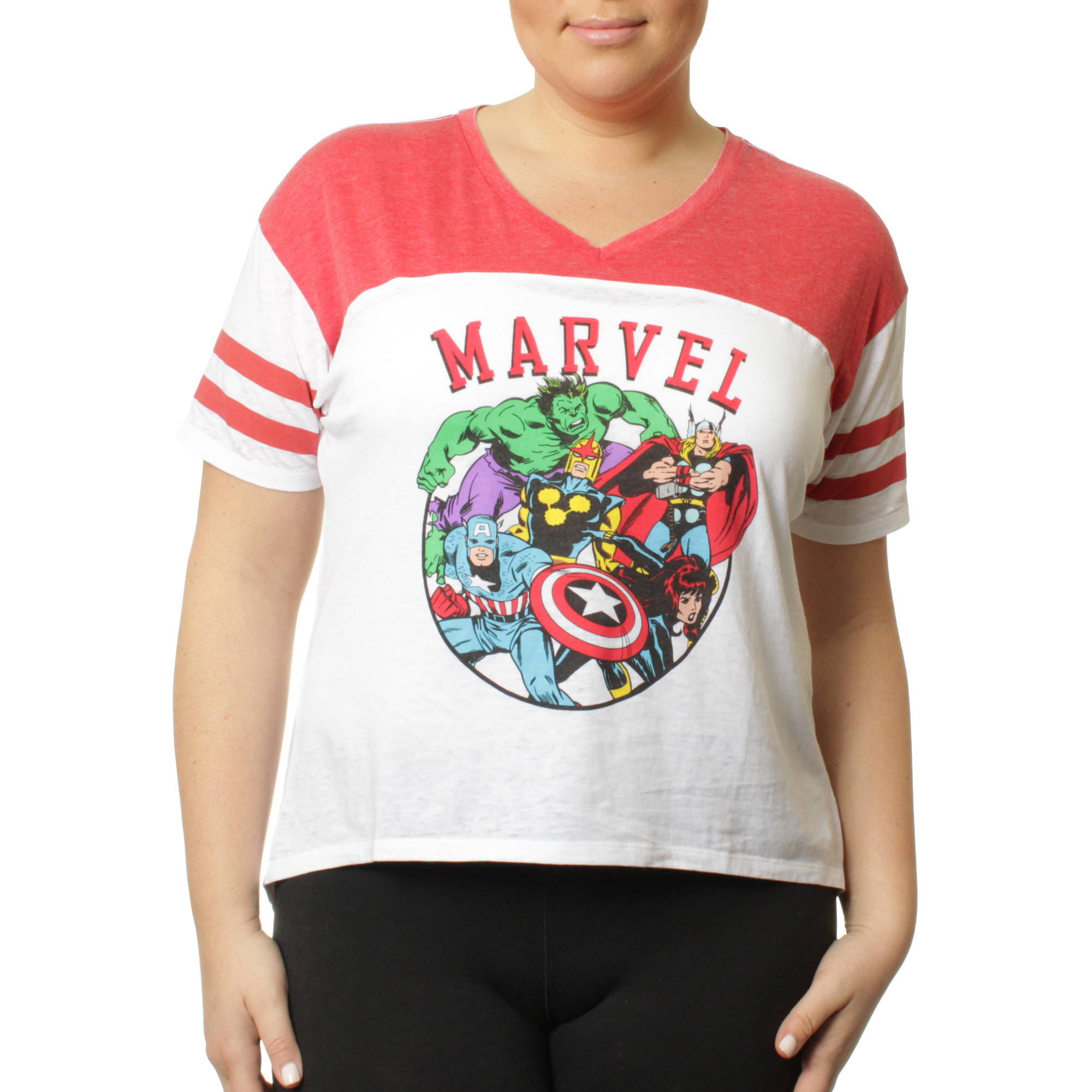 Marvel Women's Plus Athletic Football HiLo Tee