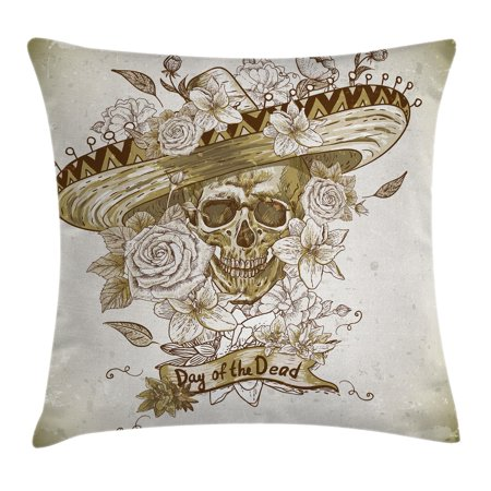 Day Of The Dead Decor Throw Pillow Cushion Cover, Wooden Floral Leaves Mexican Spanish Festive Hat Print, Decorative Square Accent Pillow Case, 18 X 18 Inches, Beige and Warm Taupe, by Ambesonne