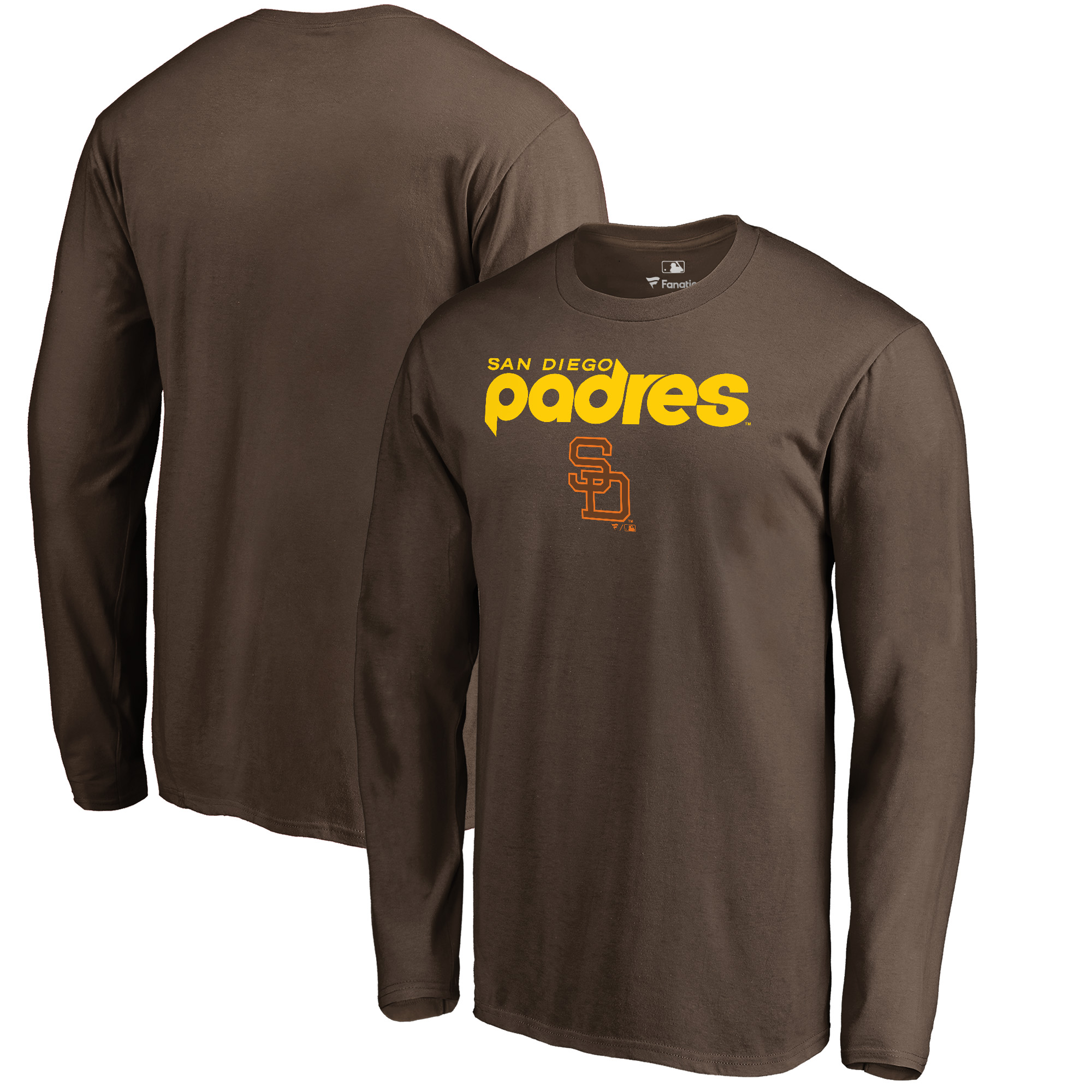 San Diego Padres Fanatics Branded Cooperstown Collection Wahconah Long Sleeve T-Shirt - Brown - L