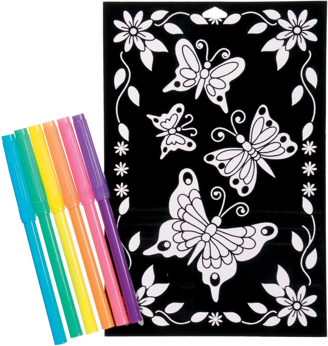 """Color-In Velvet Poster 6""""X9""""-Butterfly Daisy"""