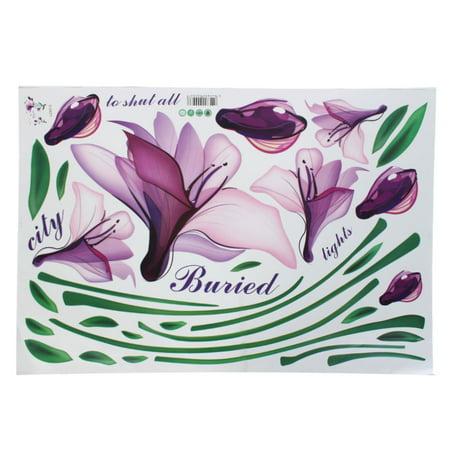 Unique Bargains Purple Morning Glory Flower Wall Decor Sticker Home Art Wallpaper Decal