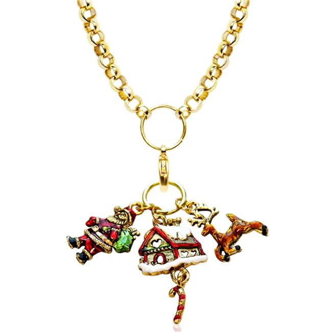 Whimsical Gifts 1301G-NL Christmas Charm Necklace In Gold