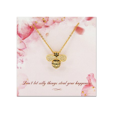 Bee Necklace - Gold Plated Stainless Steel Rhinestone Honey Bee Pendant Necklace with Free Jewelry Gift Box Ship Next Day