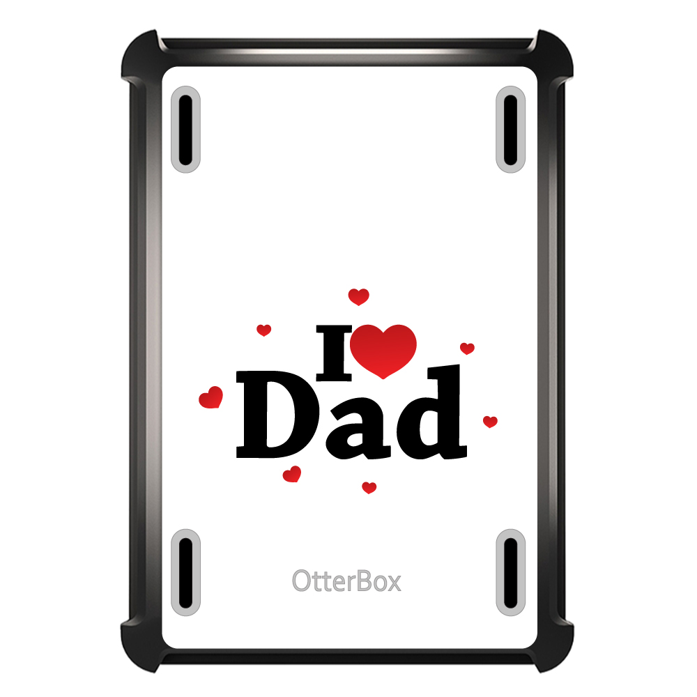 CUSTOM Black OtterBox Defender Series Case for Apple iPad Mini 1 / 2 / 3 - Black Red I Love Dad