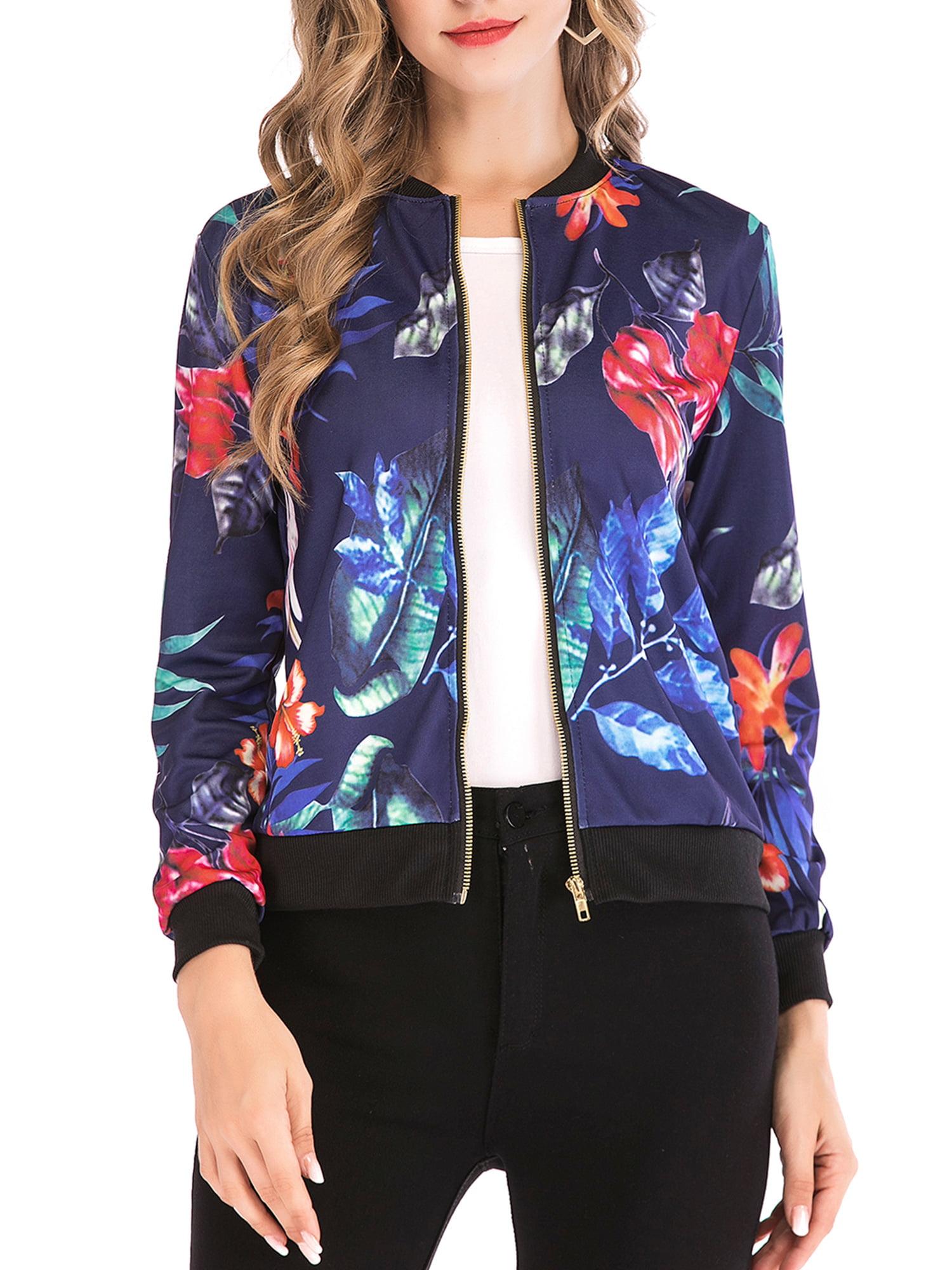 Womens Retro Floral Print Zipper Up Thin Jacket Casual Coat