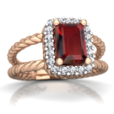 Garnet Rope Split Band Ring in 14K Rose Gold by