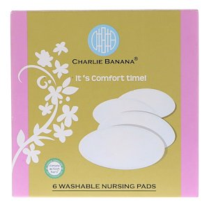 Charlie Banana, Washable Nursing Pads, Black, 6 Pads (Pack of 1) by