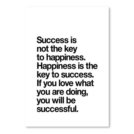 Americanflat Happiness Is The Key To Success Poster Textual Art