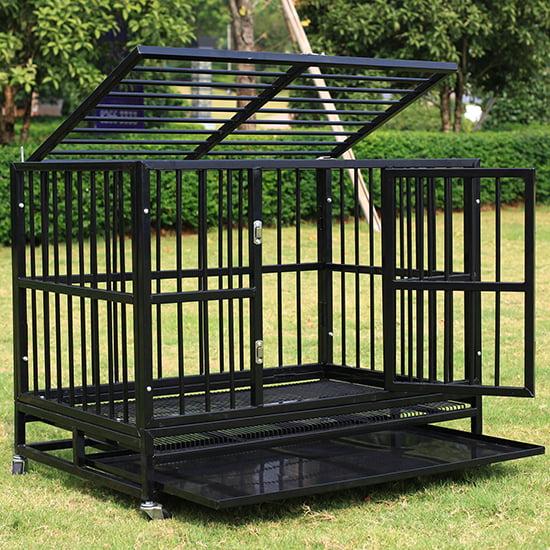 New 37� Pet Dog Cage Black Crate Heavy Duty Metal Pet Cannel Playpen w Wheels by