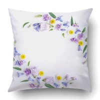 BPBOP Flowers Composition Wreath Made Of Various Colorful On White Easter Spring Pillowcase Cover Cushion 18x18 inch